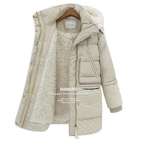 Hiver épais doudounes en plumes de canard blanc en laine d'agneau imitation manteau en duvet pour femme manteaux parkas manteau QY15061702