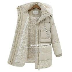Winter dikke down jassen witte eend veer lam wol imitatie vrouwen down jas bovenkleding parka overjas QY15061702