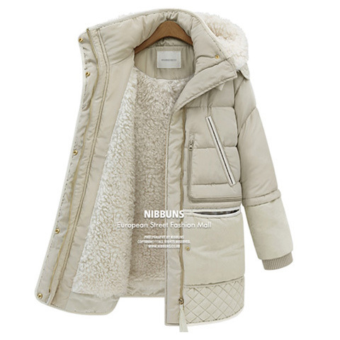 winter thick down jackets white duck feather lamb wool imitation womens down coat outerwear parkas overcoat QY15061702