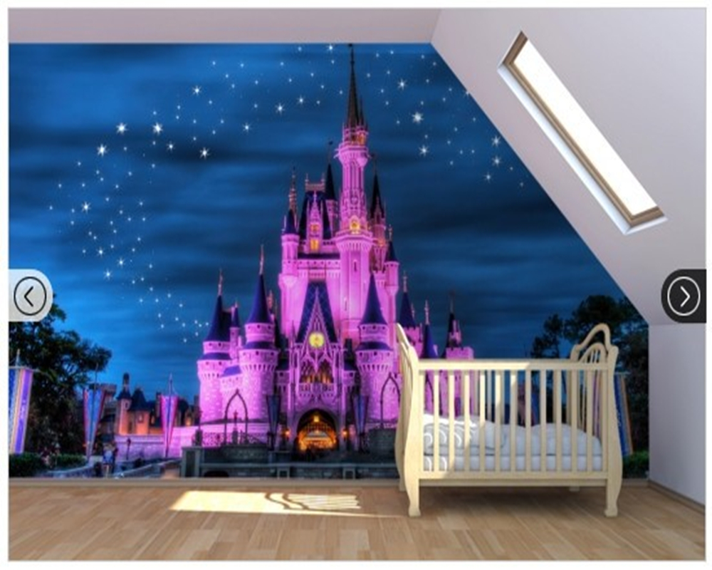 FAIRY PRINCESS CASTLES SELF ADHESIVE WALLPAPER BORDER KIDS BEDROOM