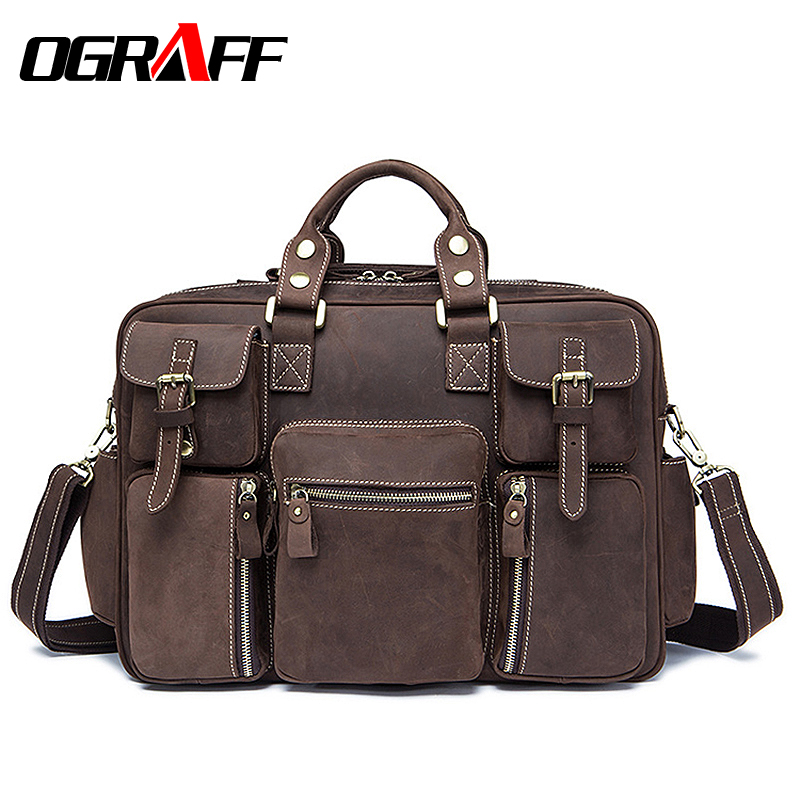 OGRAFF Men Handbag Genuine Leather Bags Men Briefcases Business Male Messenger Bag Laptop Leather Bags For Men Crossbody Bag временные татуировки мнетату временное тату флеш рояль