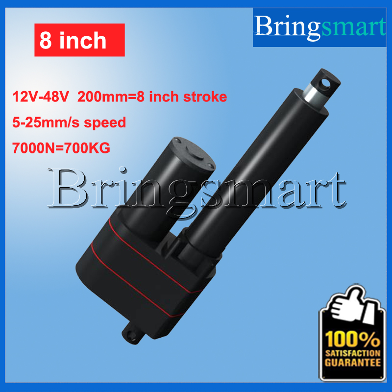 Wholesale 8inch 200mm 12V Linear Actuator Stroke 7000N 700KG Load 36v Tubular Motor 48v Mini Electric Actuator 24v Waterproof wholesale 12v linear actuator 150mm 6 inch stroke 7000n 700kg load waterproof 36v tubular motor 48v mini electric actuator 24v