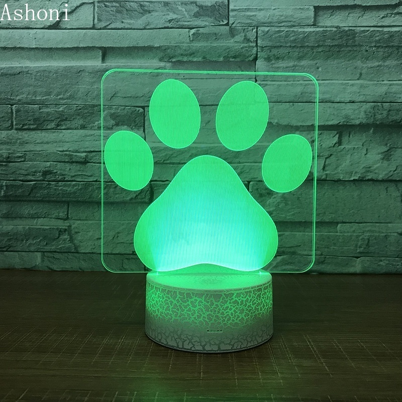 Creative Miraculous Ladybug Cat Footprint Shape 3D Night Lights Kids Toy LED USB Touch Button Table Lamp Gifts