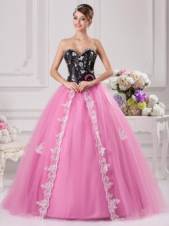 Negro bola rosa Vestido De gala los vestidos De novia blanco ...