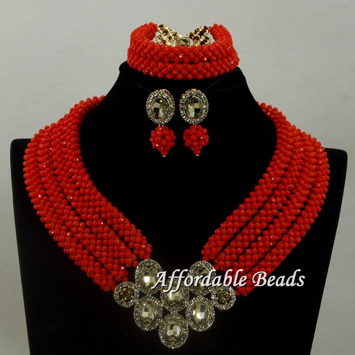 Women New Red Nigerian Beads Jewelry Set Statement Necklace Earrings Bracelets Jewelry Set for Wedding hx015Women New Red Nigerian Beads Jewelry Set Statement Necklace Earrings Bracelets Jewelry Set for Wedding hx015