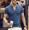 Homens camisa polo sólida tops camisetas de manga curta t-shirt dos homens da marca moda V pescoço dos homens do Algodão T Camisa Paul Camisa 2016 nova chegar