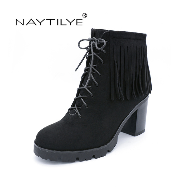 e90bc869d2ab34 NAYTILYT PU leather shoes woman ankle warm winter boots women high heels  zip round toe nature wool fringe black brown size 35-40