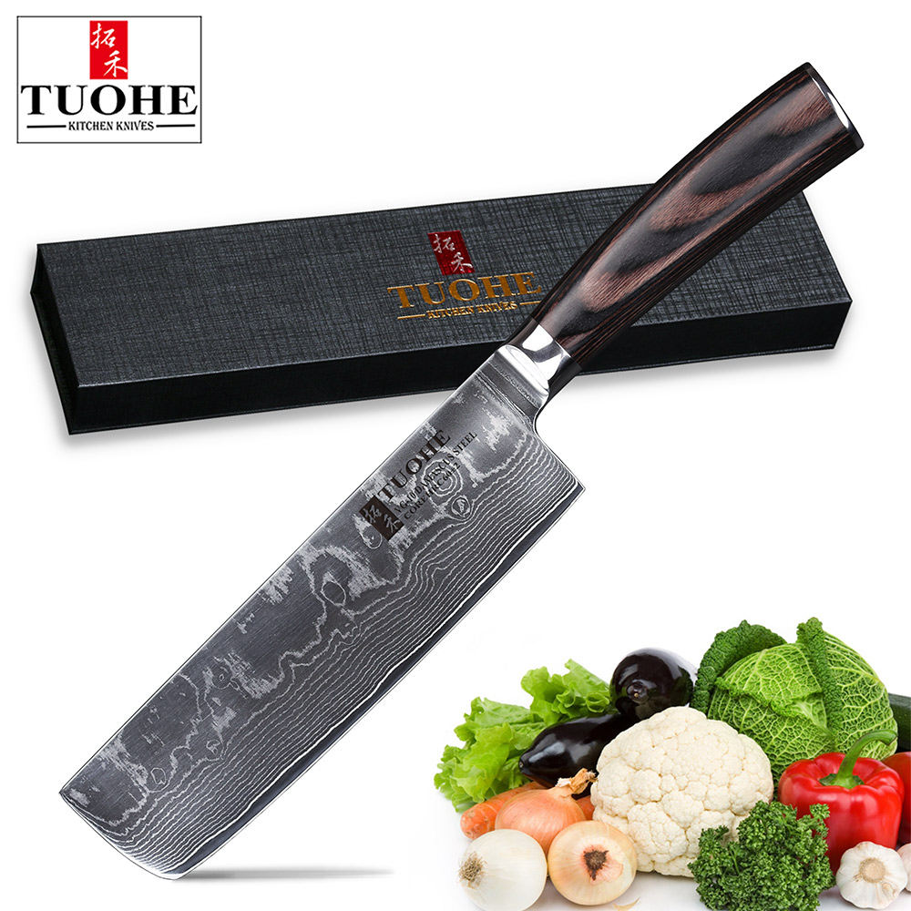 TUOHE 7 Damascus Japanese Nakiri Vegetable Knives Professional chef Knives Slicing Meat Vegetable Kitchen Utility Cooking
