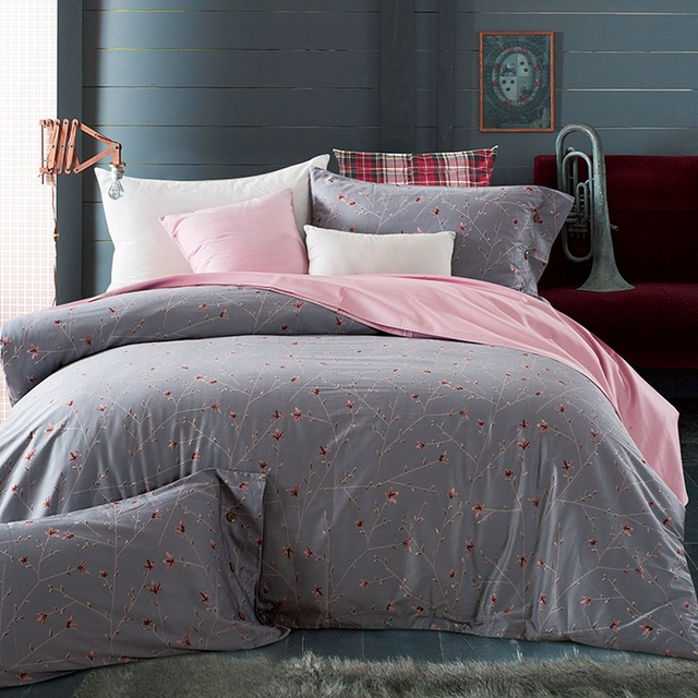 Grey Flowers Duvet Cover Set 100 Egyptian Cotton Pink Solid Color Bed Sheets Pilowcase Queen