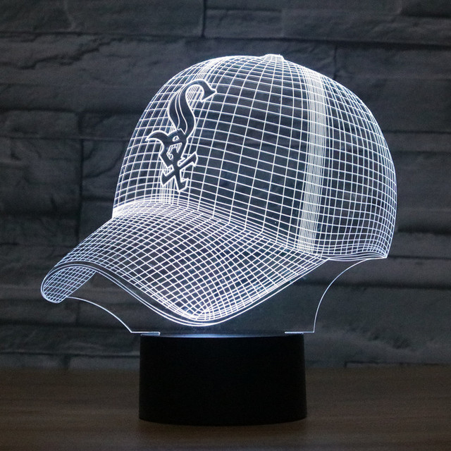 af2f0a010 US $17.96 27% OFF|8073 Chicago White Sox Baseball Cap Hat 3D LED Lamp  Atmosphere lamp 7 Color Changing Visual illusion LED Decor Lamp-in Action &  Toy ...