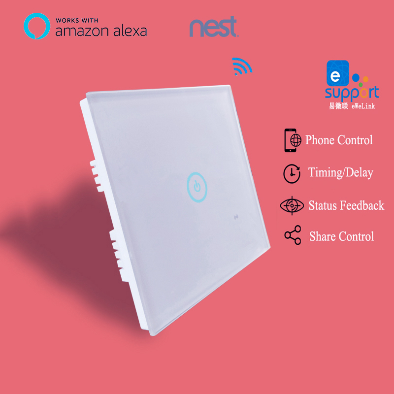 Ewelink app 1 2 3 Gang WiFi Wall Touch Switch Timer Panel 85-250V IOS Andorid Phone Remote UK Standard Smart Home Automation sonoff t1 us smart touch wall switch 1 2 3 gang wifi 315 rf app remote smart home works with amazon free ios and app ewelink