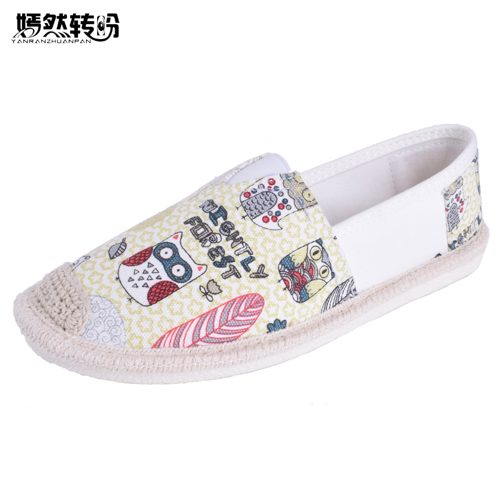 Women Flats Summer Shoes Fashion Owl Print Canvas Ladies Ballet Flat Casual Breathable Slip On Shoes Zapatos Mujer new women shoes breathable fashion ladies flats non slip summer wedges shoes for women aa10218