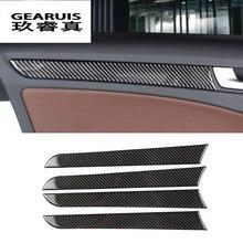 Estilo de coche Interior de fibra de carbono con cubiertas de molduras pegatinas para cuenco de puerta decorativa para Audi a4 B8 2009-2016 accesorios de auto
