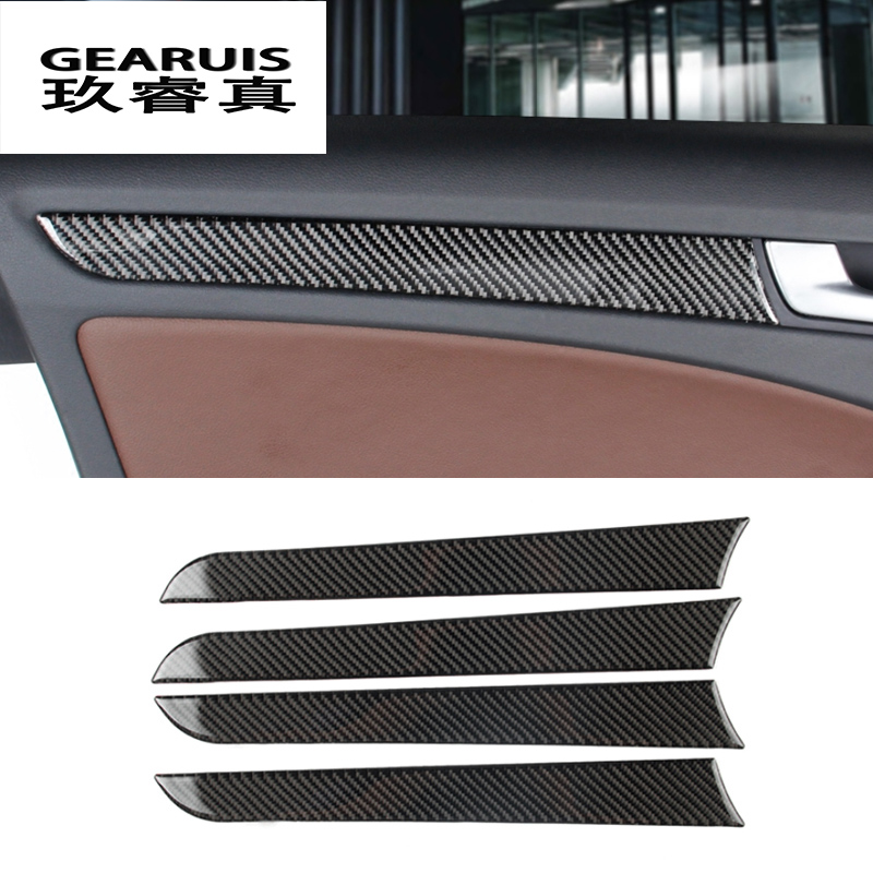Car styling Carbon Fiber Interior Handle Covers Trim Door Bowl Stickers decorative for Audi a4 B8 2009-2016 auto accessories image