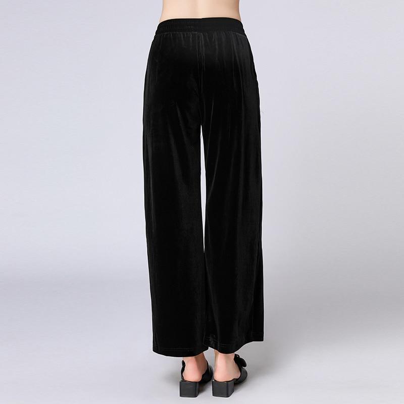 Automne Nouvelle Lâche Noir Mode Occasionnel Droit Dames Afficher Slim Grande La Grade Velours Pantalon Mince De Plus Taille Haut qwSZ6R