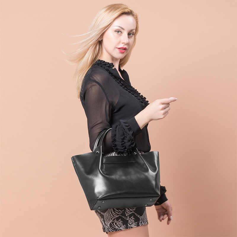 Realer Wanita Tas Tangan Besar Totes Wanita Kualitas Tinggi Split Leather Top-Handle Wanita Bahu Crossbody Messenger Tas Malam