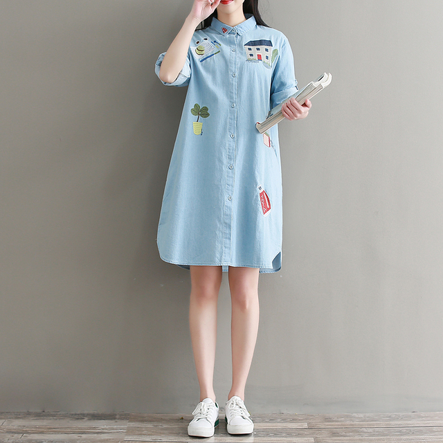 f581f8bcef5 Women Jean Dress 2018 Spring New Preppy Loose Long Sleeve Cartoon  Embroidery Light Blue Cotton Denim