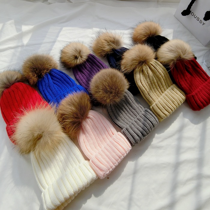 Raccoon fur Ball Real Mink  pom poms winter hat for women&kids baby Child hats knitted beanies cap brand thick female cap W02 laurashow winter kids hats beanies caps knit hat baby girls boys raccoon mink fur pom poms wool