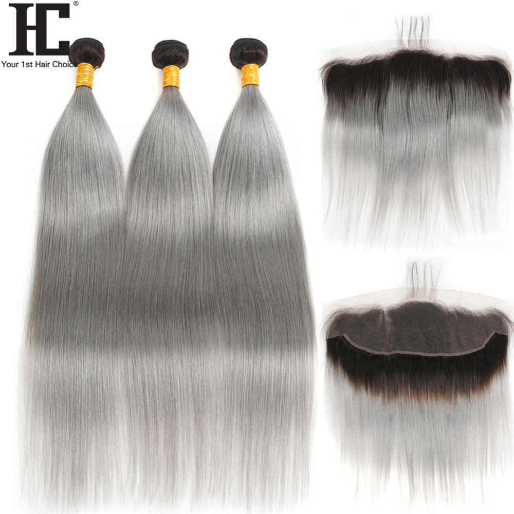 HC Ombre Hair Bundles With Frontal 1B/Grey Dark Root Brazilian Straight 4 PCS Remy Human Hair Weave Bundles With Lace Frontal