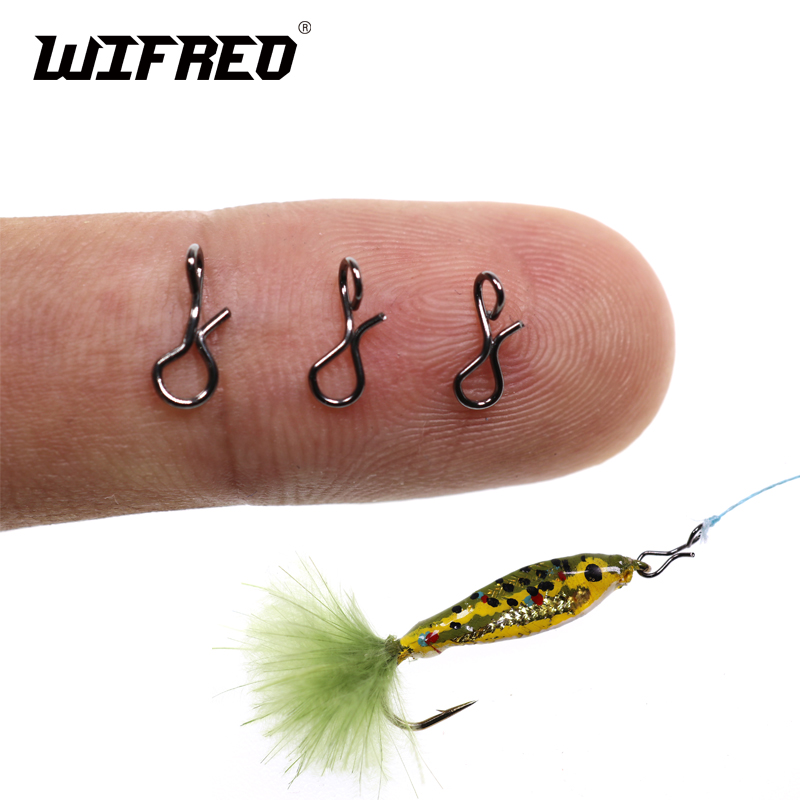 Quick-Change Lock Lures Fly-Fishing-Snap Hook Wifreo for Flies Stainless-Steel Black