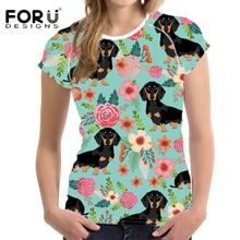 FORUDESIGNS Women T Shirt Ladies Kawaii Doxie Dog Dachshund Flower Print T-shirt Teenagers Floral Tee Female Fitness Cloth