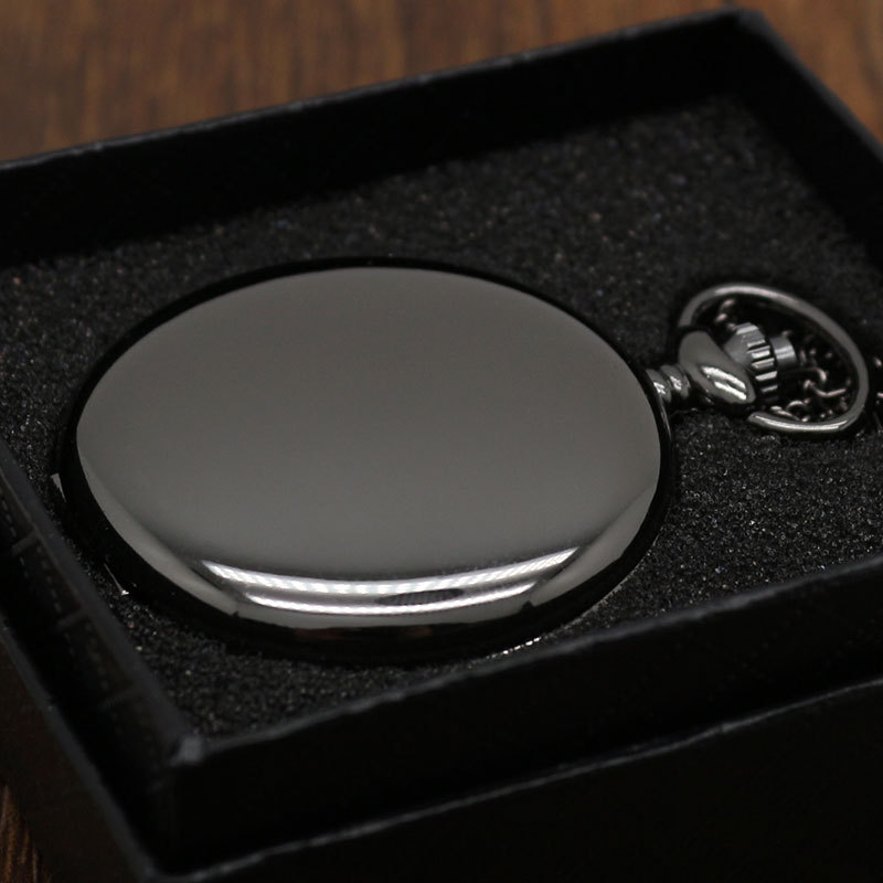 Retro Black Silver Smooth Steampunk Quartz Pocket Watch Stainless Steel Pendant 30CM Chain For Men Women With Gifts Box