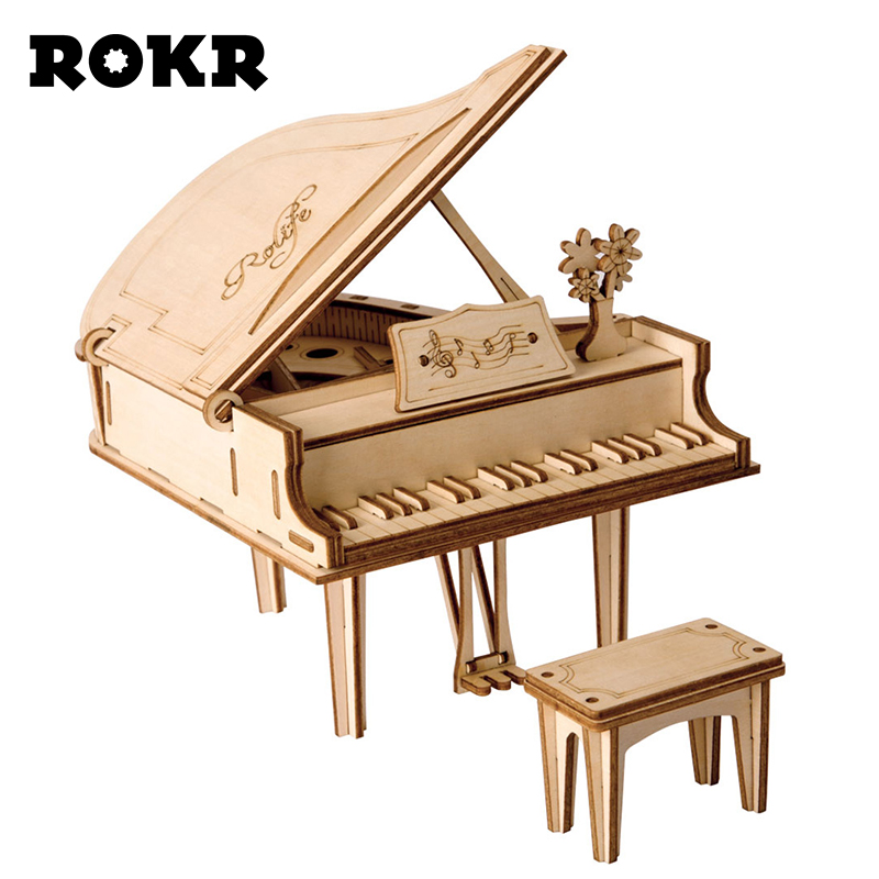 ROKR DIY Grand Piano Toys 3D Wooden Puzzle Toy Assembly Model Wood Craft Kits Desk Decoration For Children Kids TG402
