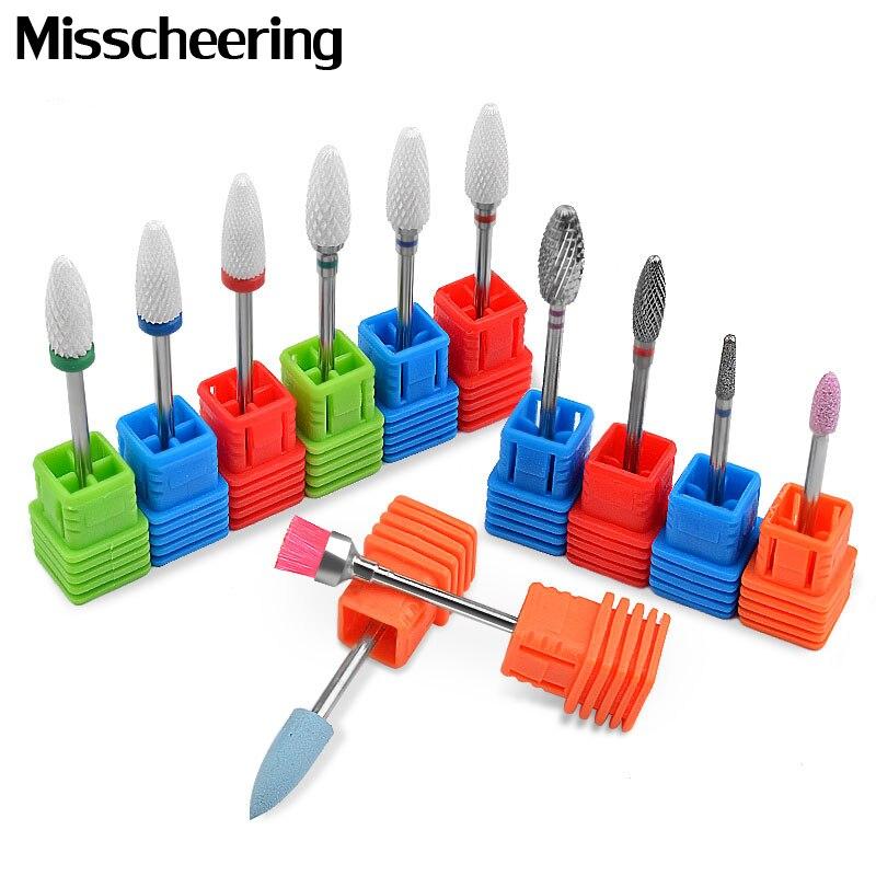 1pcs Diamond Nail Drill Bits Ceramic Milling Cutter Polish Rotary Burr Cuticle Clean Brush Electric Manicure Machine Accessories