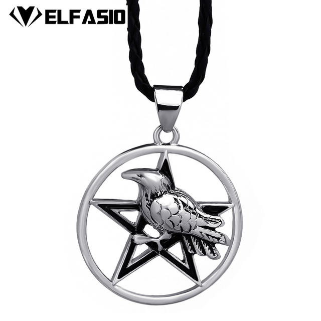 Mens silver black star crow witchcraft amulet pewter pendant with mens silver black star crow witchcraft amulet pewter pendant with necklace jewelry lp300 aloadofball Choice Image