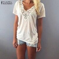 Blusas 2015 European Summer Style Women Fashion Short Sleeve Lace Flower V Neck White Shirts Casual