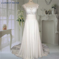 Real Image Split Lace See Through Back Beach Wedding Dress 2016 New Arrival Romantic Bridal Gown