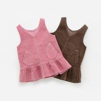 New 2017 Brand Quality Corduroy Cotton Baby Girls Dress Sleeveless Children Clothing Baby Girl Clothes Bebe Kids Sundress Girls