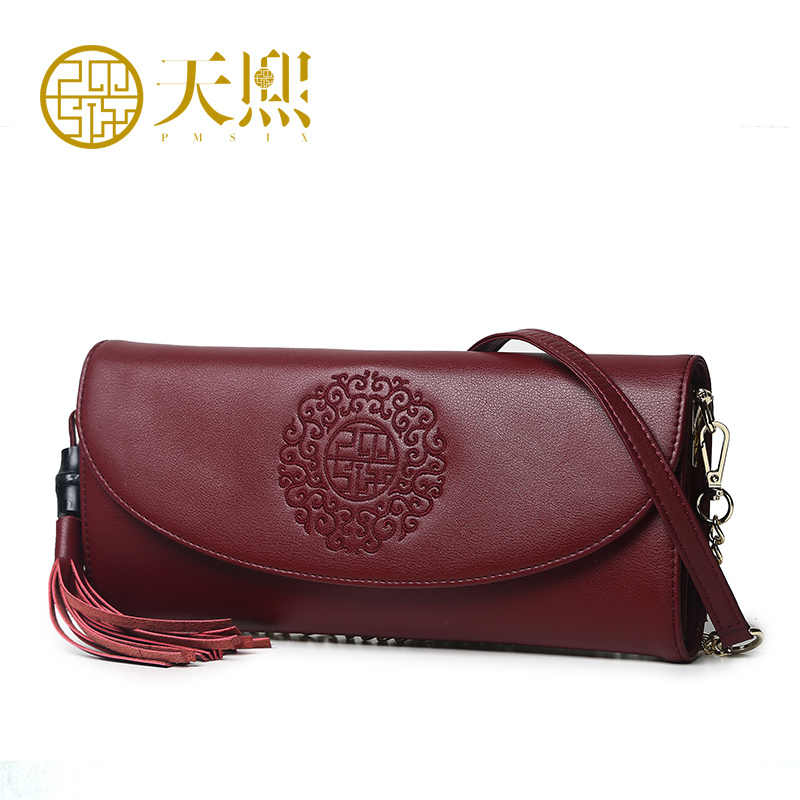 ФОТО Pmsix 2017 Chinese Style Women Cowhide Embroidery Messenger Bags Day Clutch Casual Shoulder Chain Bag 420037