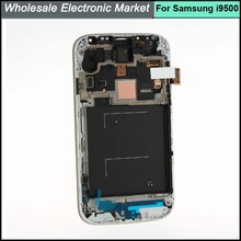 High quality LCD Screen Display Digitizer + Frame Assembly For Samsung Galaxy S4 IV i9500 Blue Color,(with logo)