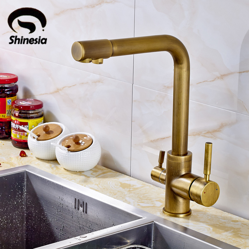 Antique Brass Kitchen Sink Pure Water Faucet Swivel Spout Mixer Tap with Purified Water Outlet becola new design kitchen faucet fashion unique styling brass chrome faucet swivel spout sink mixer tap b 0005