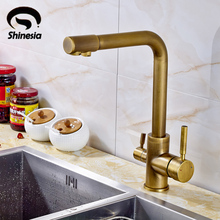 Antique Brass Kitchen Sink Pure Water Faucet Swivel Spout Mixer Tap with Purified Water Outlet