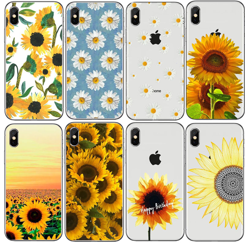 new products d2463 d0ab2 US $1.22 49% OFF|Cute Summer Daisy Sunflower Floral Flower Hard PC Clear  Phone Case Fundas Coque For iPhone5s SE 7 XS Max 6 6S 6Plus 8 8PLUS XR-in  ...