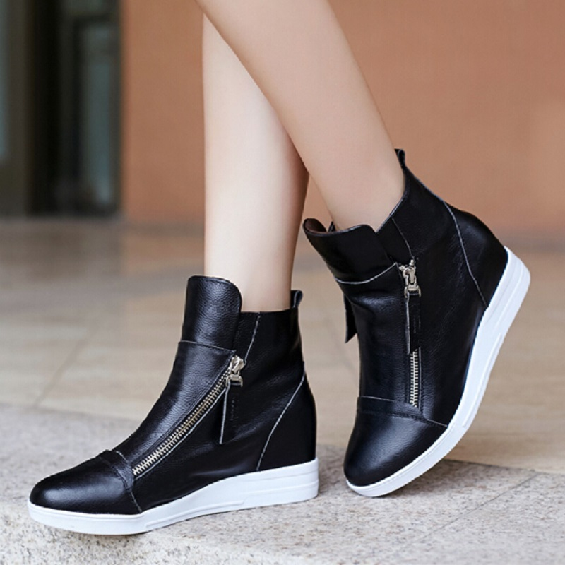 Womens Flat Black Ankle Boots - Yu Boots