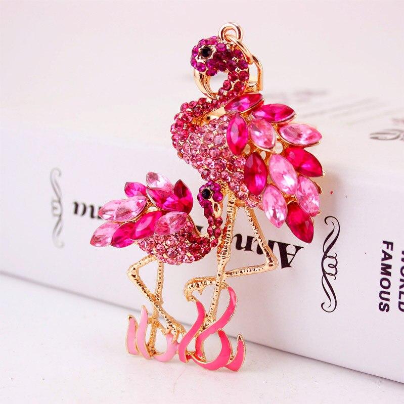 Zarte Doppel Flamingo Vogel Schlüsselanhänger Ringe Halter Für - Modeschmuck - Foto 3