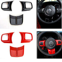 free shipping Fashion Steering Wheel Cross Cover Trim Molding Interior Accessories ABS For Jeep Wrangler jk 2007 2016