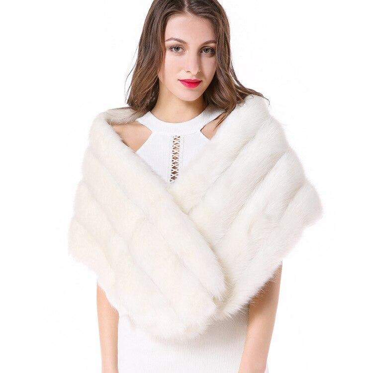 ZADORIN Vintage Women Faux Fur Coat Elegant Faux Fox Fur Poncho Bridal Wedding Fur Shawl Cape Women Fur Vest abrigos mujer in Faux Fur from Women 39 s Clothing