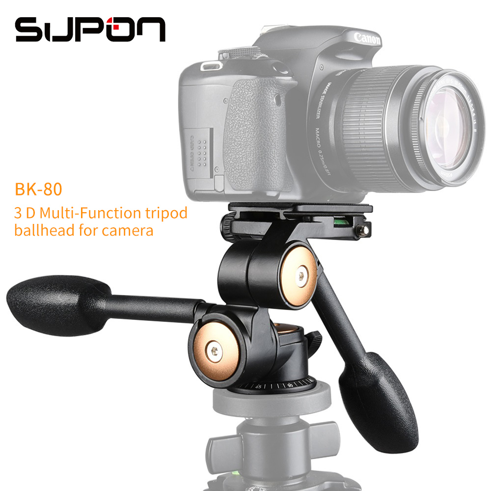 Pro Two Handle Three-dimensional Ball Head BK80 With QR Quick Release Plate Tripod for Canon Nikon Sony Pentax Olympus Camera 360┬░ two handle hydraulic damping three dimensional tripod head for camera black