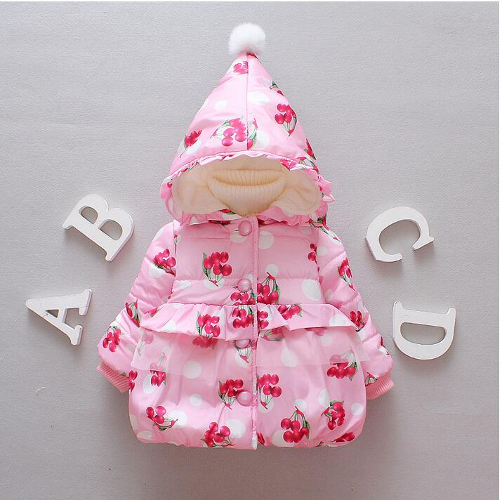 Autumn and winter new fashion cherry pattern 0-3 year old girl thickening warm fashion cotton + free gift  цена и фото