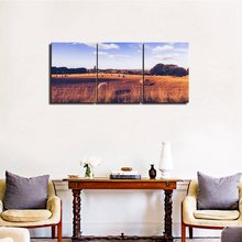 The Season Of Autumn Harvest Wheat Hay Bales On Field After Canvas Wall Art Landscape Decor for Home Decoration