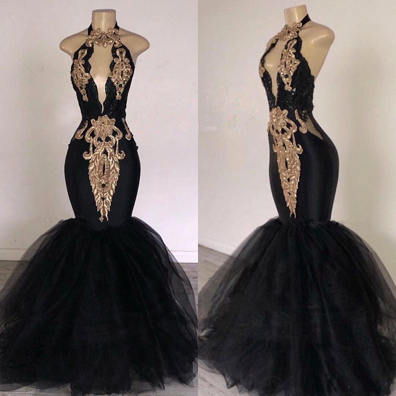 2019 Black   Prom     Dresses   with Gold Lace Mermaid Halter Neck Sweep Train South Africa Style Formal Evening Occasion Party Gowns