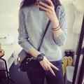 2016 Spring Winter Fashion Women O-neck Solid Plaid Twisted Pullover Sweater Long Sleeve Short Knited Top