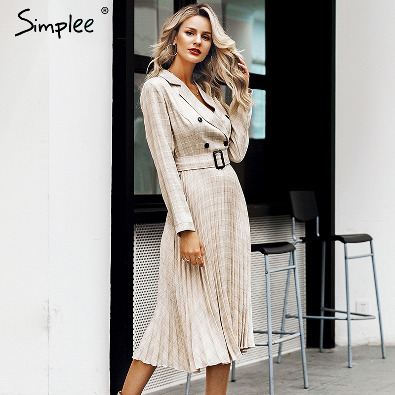 Simplee Vintage pleated belt plaid dress women Elegant office ladies blazer dresses Long sleeve female autumn midi party dress 1