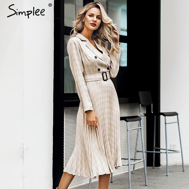 Simplee Vintage pleated belt plaid dress women Elegant office ladies blazer dresses Long sleeve female autumn midi party dress 2