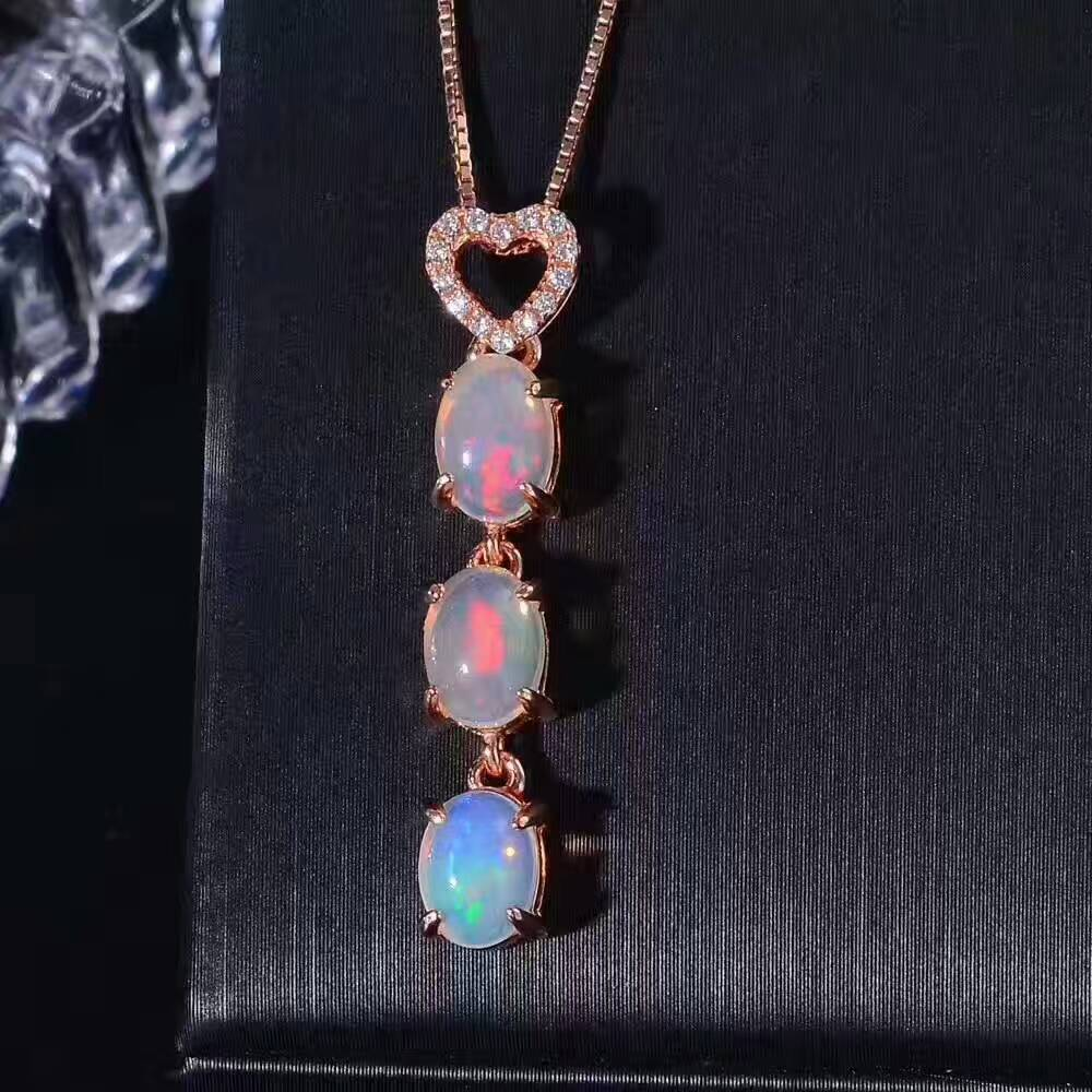 natural Multicolor opal pendant S925 Sterling silver Natural gemstone Pendant Necklace trendy Lucky beans women girl jewelry