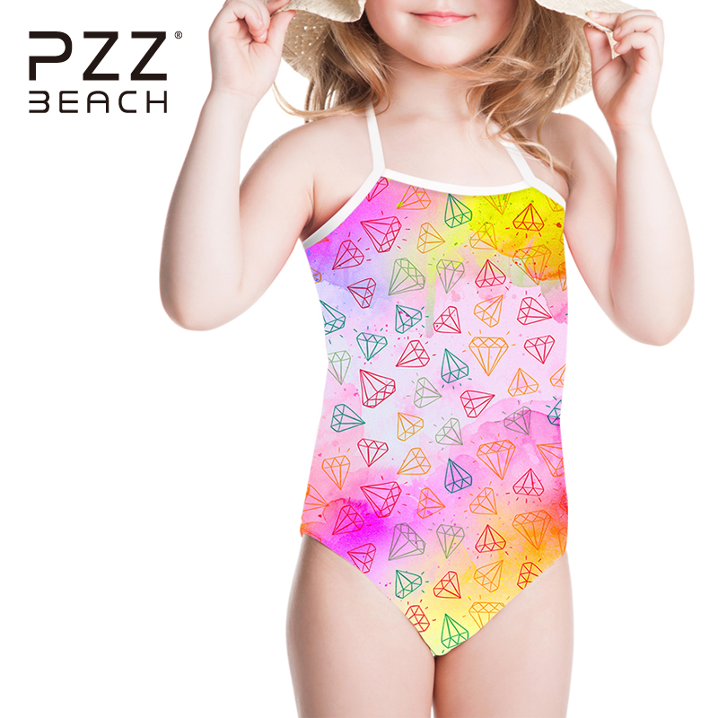 Colorful Swimsuit Diamond Kids Girls Swimwear One Pieces Bathing Suits Bandage Cartoon Summer Halter Swimming Suits